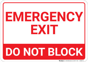 Emergency Exit Do Not Block Landscape - Wall Sign