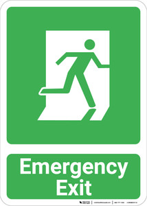 Emergency Exit with Icon Portrait - Wall Sign