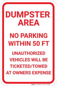 Dumpster Area No Parking Portrait - Wall Sign