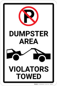 Dumpster Area Violators Towed with Icons Portrait - Wall Sign