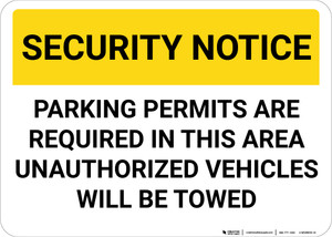 Security Notice Parking Permits Required Landscape - Wall Sign