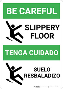 Be Careful Slippery Floor Bilingual Spanish with Icon Portrait - Wall Sign