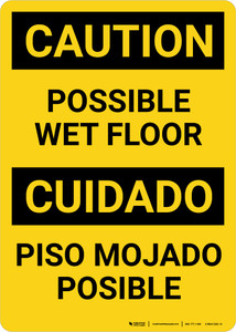 Caution Possible Wet Floor Bilingual Spanish Portrait - Wall Sign