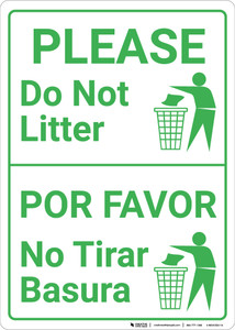 Please Do Not Litter Bilingual Spanish with Icon Portrait - Wall Sign