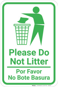 Please Do Not Litter Bilingual Spanish with Large Icon Portrait - Wall Sign