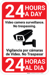 Video Camera Surveillance 24 HoursBilingual Spanish with Icon Portrait - Wall Sign