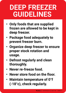 Deep Freezer Guidelines Portrait - Wall Sign