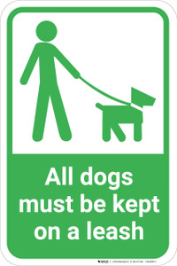 All Dogs Must Be Kept On A Leash with Icon Portrait - Wall Sign