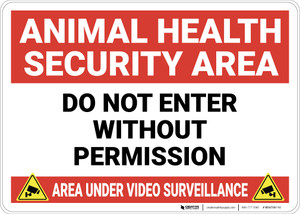 Animal Health Security Area with Icons Landscape - Wall Sign