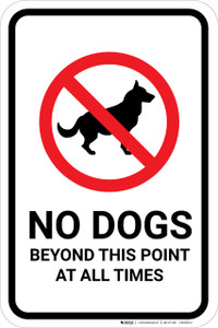 No Dogs Beyond This Point with Icon Portrait - Wall Sign