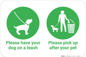Please Have Your Dog On Leash And Pick Up After Your Pet with Icons Landscape - Wall Sign