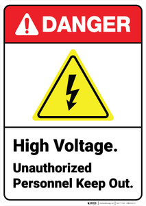 Danger: High Voltage Unauthorized Personnel Keep Out with Icon ANSI - Wall Sign