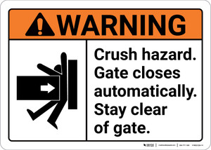 Warning: Crush Hazard Gate Closes Automatically with Icon ANSI - Wall Sign