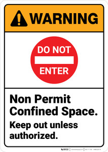 Warning: Non Permit Confined Space Keep Out with Icon ANSI - Wall Sign