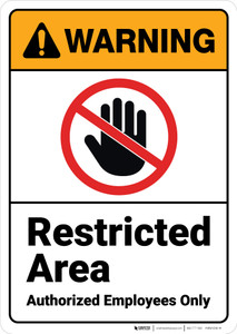 Warning: Restricted Area with Icon ANSI - Wall Sign