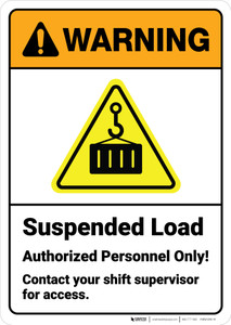 Warning: Suspended Load Authorized Personnel with Icon ANSI - Wall Sign