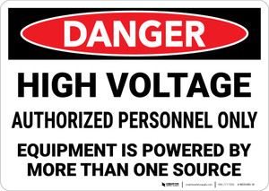 Danger: High Voltage Equipment Powered By More Than One Source Landscape - Wall Sign