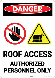 Danger: Roof Access Authorized Personnel Only with Icons Portrait - Wall Sign