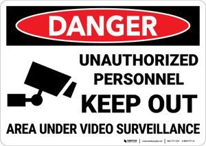 Danger: Unauthorized Personnel Keep Out with Icon Landscape - Wall Sign