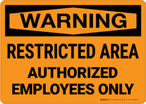 Warning: Restricted Area Authorized Employees Only Landscape - Wall Sign