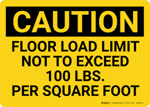 Caution: Floor Load Limit 100 Lbs Landscape - Wall Sign