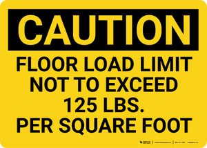 Caution: Floor Load Limit 125 Lbs Landscape - Wall Sign