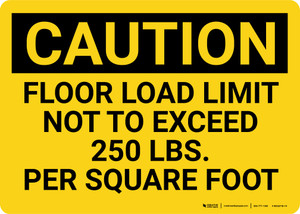 Caution: Floor Load Limit 250 Lbs Landscape - Wall Sign