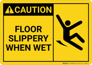 Caution: Floor Slippery When Wet with Icon Landscape - Wall Sign