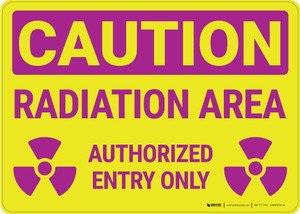 Caution: Radiation Area Authorized Entry with Icons Landscape - Wall Sign
