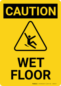 Caution: Wet Floor with Icon Portrait - Wall Sign