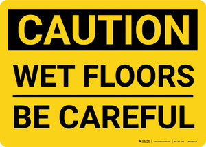 Caution: Wet Floors Be Careful Landscape - Wall Sign