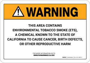 Warning: Prop 65 Environmental Tobacco Smoke (ETS) - Wall Sign