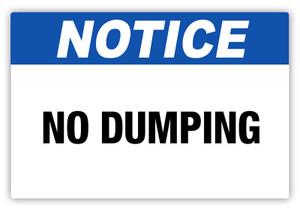Notice - No Dumping Label