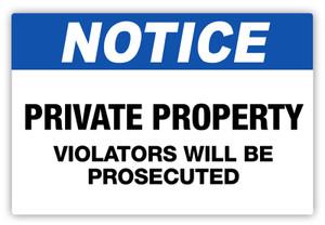 Notice - Violators Prosecuted Label