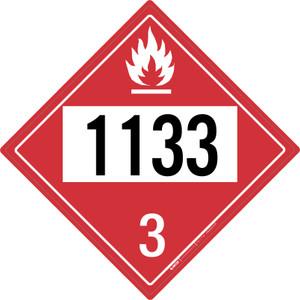 Flammable: Class 3 - UN1133 - Placard Sign