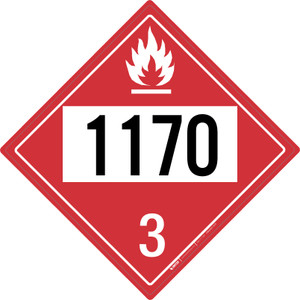 Flammable: Class 3 - UN1170 - Placard Sign