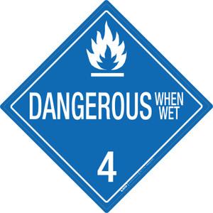 Dangerous When Wet: Class 4 - Placard Sign
