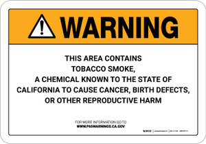 Warning: Prop 65 Tobacco Smoke - Wall Sign