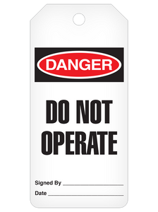 Danger Do Not Operate Tag Roll