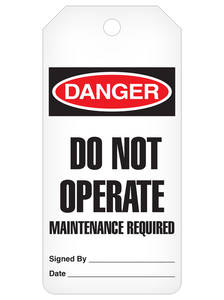 Danger Do Not Operate Maint. Required Tag Roll