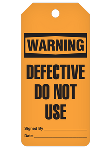 Warning Defective Do Not Use Tag Roll