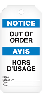 Notice Out Of Order / Hors D'Usage Tag Roll