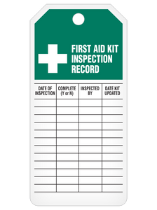 First Aid Kit Inspection Record Tag Roll