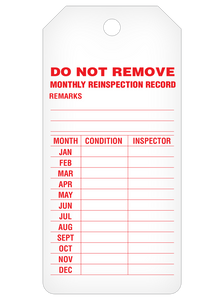 Monthly Inspection Record Tag Roll