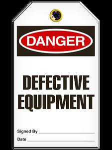 Danger Defective Equipment Tags