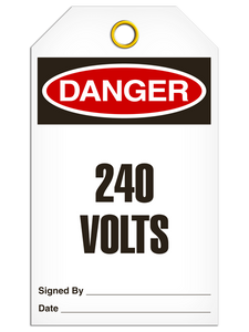 Danger 240 Volts Tags