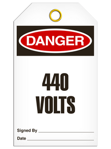 Danger 440 Volts Tags