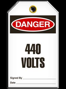 Danger 440 Volts Tags