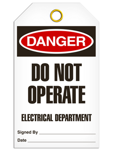 Danger Do Not Elec Tags