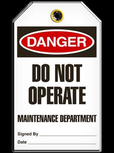 Danger Do Not Maint Tags